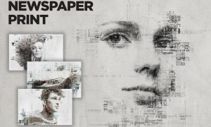 Newspaper Print Photoshop Action  BHT7G5V