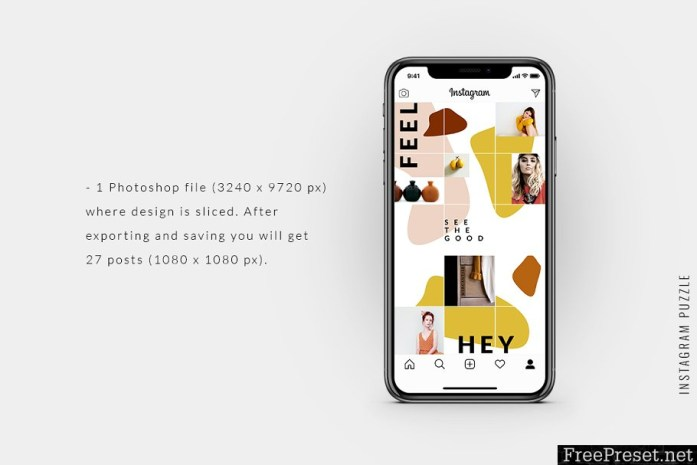 Instagram PUZZLE template - Abstract 3738245