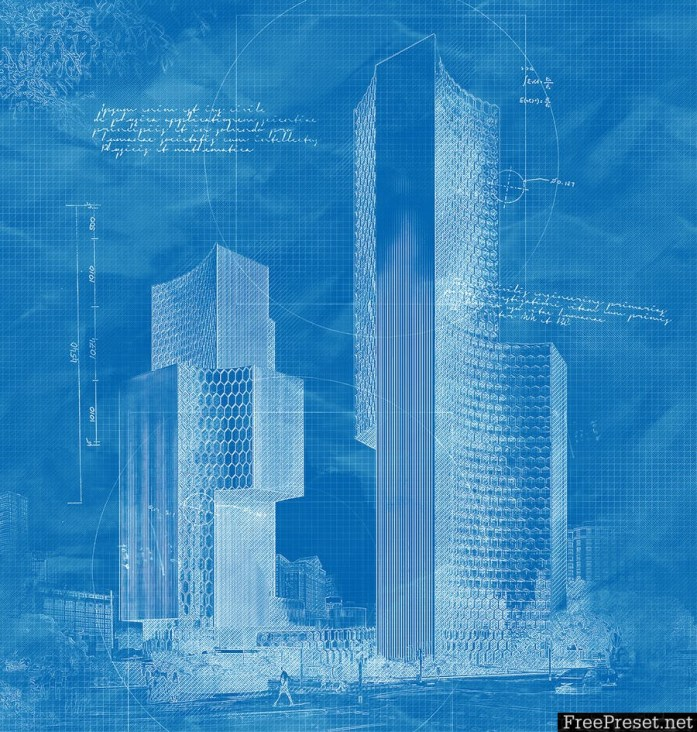 Architecture Sketch and Blueprint Photoshop Action MU6YRF
