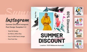 Summer Discount Instagram Post Design Template V-2 RN4U3MY