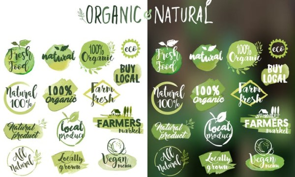 Organic food stickers and badges  EMFL73R