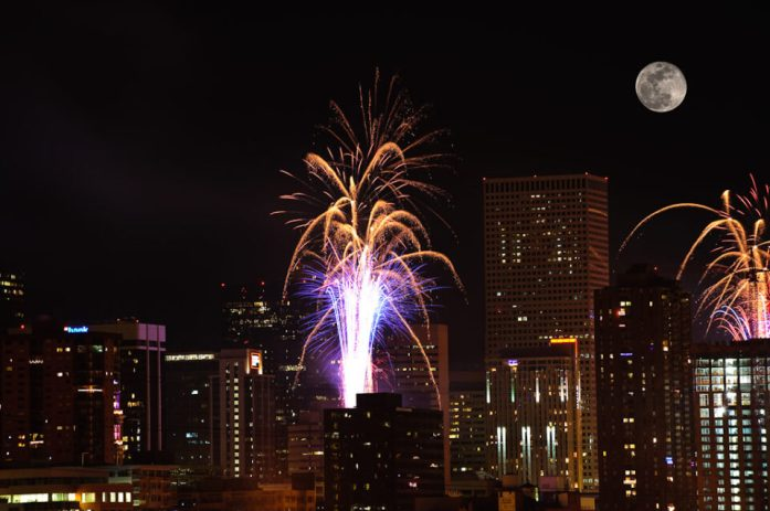 Fireworks with the Full Moon