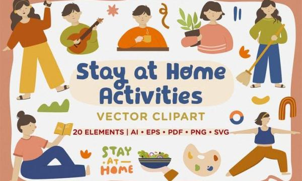 Stay at Home Activities Vector Clipart Pack X5PPTHV