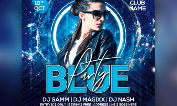 Blue party flyer