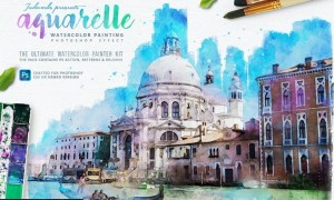 Aquarelle Watercolor Painting Photoshop Action 7EY95ME