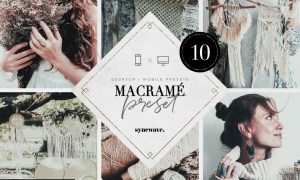 Macramé Lightroom Presets Bundle 5251195Get the best mobile Lightroom presets to easily enhance photos using the free Adobe Lightroom CC app. Experience why over 50.000 people are using the best Lightroom presets! Now available on Creative Market. Our new Macramé mobile presets transforms your image into a beautiful abstract and professional shot!  Easily transform dull and flat looking photography into a professional looking shot with a single button tap. Our presets have been successfully tested with dozens of images but for best results, we do encourage you to use the preset for similar scenes as shown in our preview images to reduce potential preset tweaking.  ✂ · · · · · · · · · · · · · · · · · · · · · · · · · · · · · · · · · · · · · · · · · · · · · · · · · · · · · · · · · · · · · · · · · · · · · ·  F E A T U R E S  5x Mobile Lightroom Preset (.DNG file format) 5x Desktop Lightroom Preset (.xmp file format) 1x .PDF Documentation File with simple installation instructions This listing includes a .PDF file containing download links to 5 .DNG mobile presets for the free Adobe Lightroom CC app and 5 .xmp preset files for the desktop version of Adobe Lightroom. The following 5 styles are included within this purchase:  Regular Darker Brighter Matte High Contrast