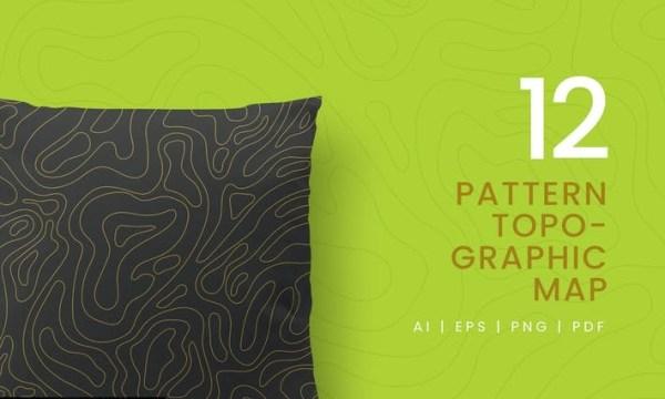 12 Seamless Topographic Pattern YWTAFK7