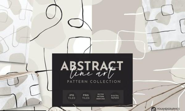 Abstract Line Art Seamless Patterns 8ZPGG8N