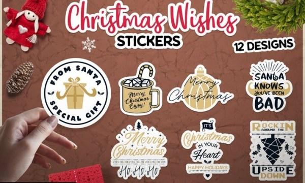Christmas Wish Stickers Bundle Vector Xmas Labels B2RJFE9