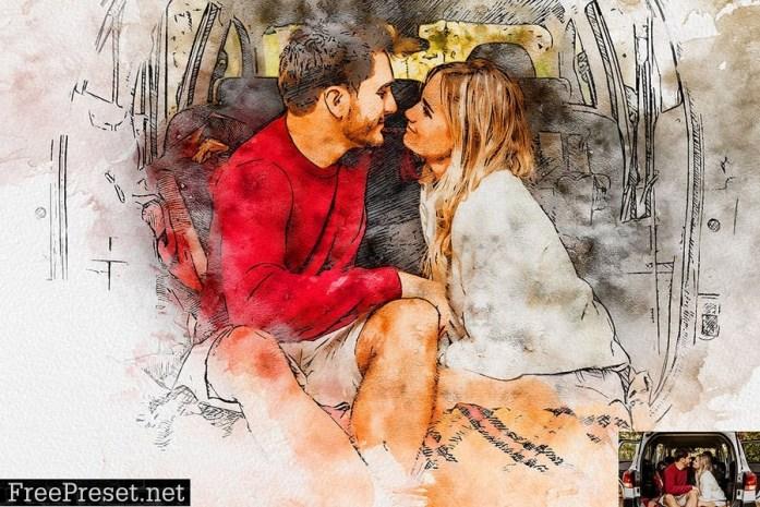 Pen & Watercolor Photoshop Action JQBAPM5
