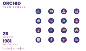 1980+ Icons - Orchid Icon Bundle 3X5VPH