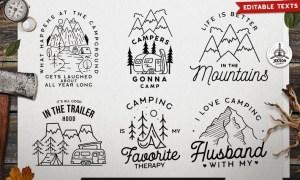 Camping Designs Bundle, Retro Adventure Labels YY3AWPX
