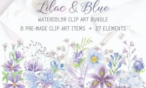 Lilac and Blue Watercolor Clip Art Bundle HJKAY9T