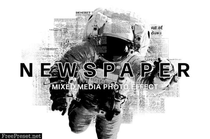 Newspaper Mixed Media Photo Effect