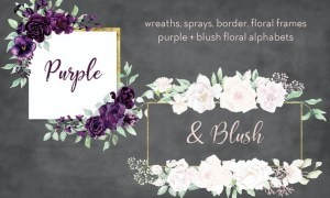 Purple and Blush Watercolor Design Set CF3GL3K