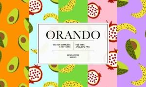 Orando – fancy fruit collection of vector patterns QEUYRRK
