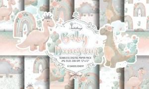 Dino baby digital paper pack UAY9ZRZ