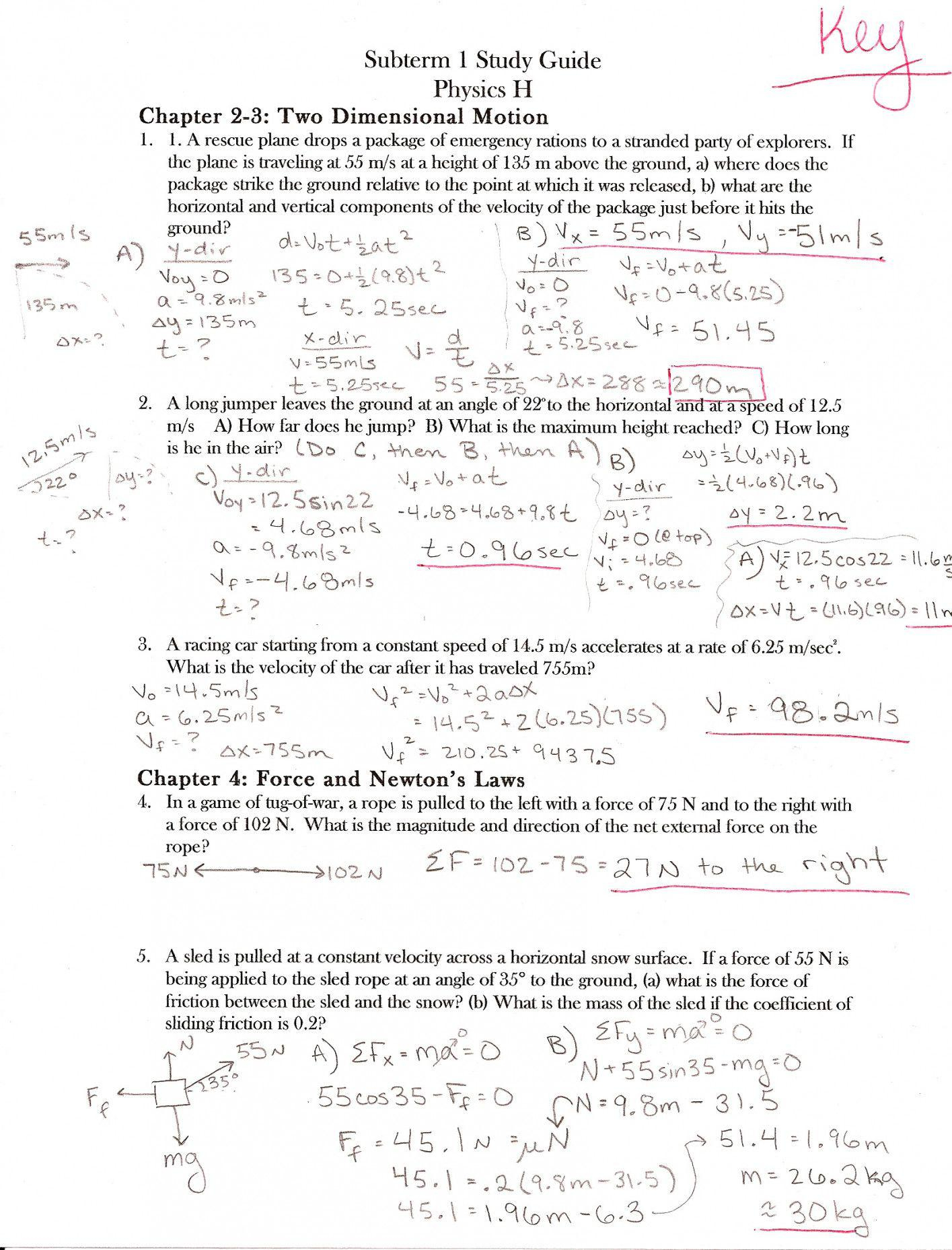 Coefficient Of Friction Worksheet Answers