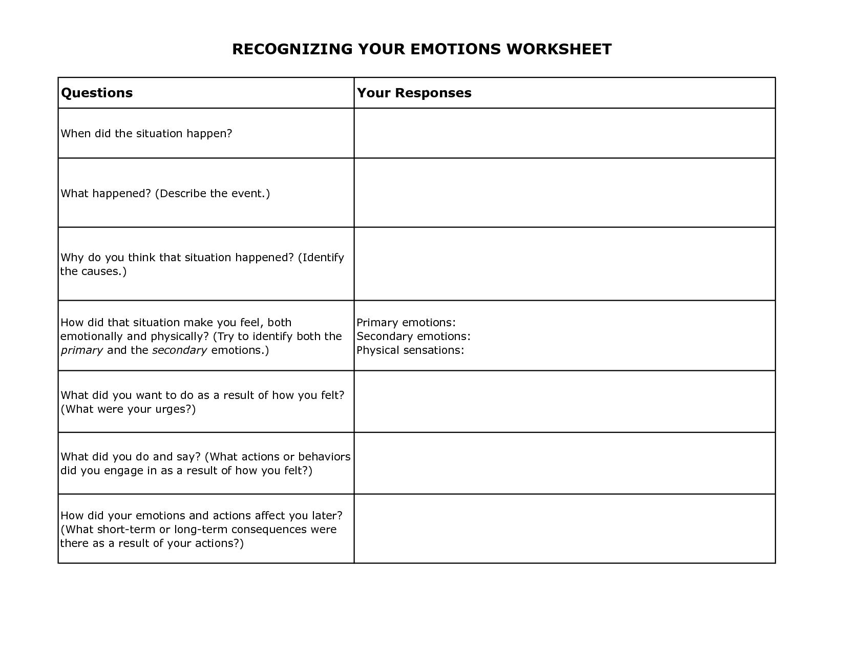Free Printable Coping Skills Worksheets Kids Free