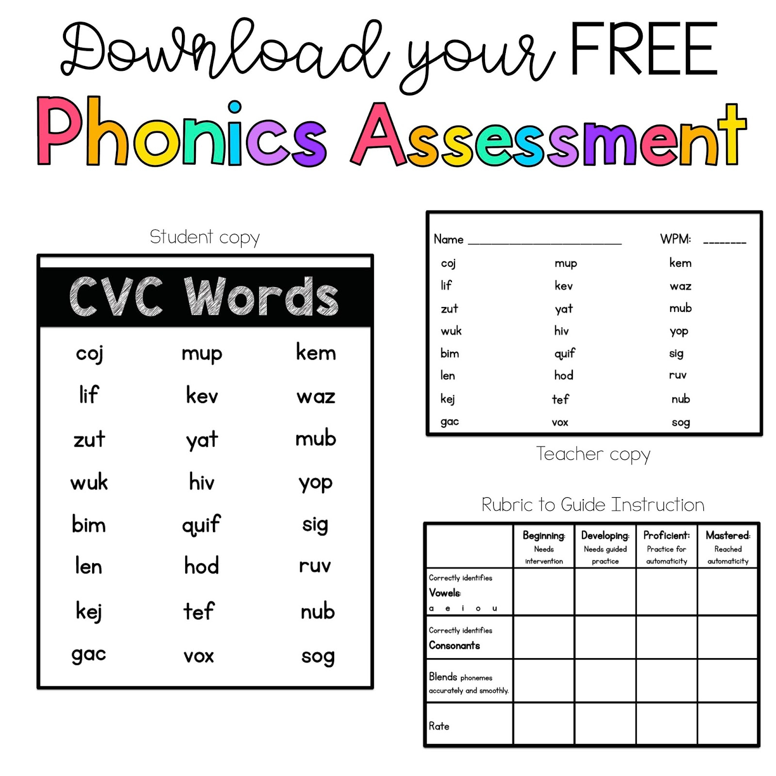 Free Printable Phonics Assessments