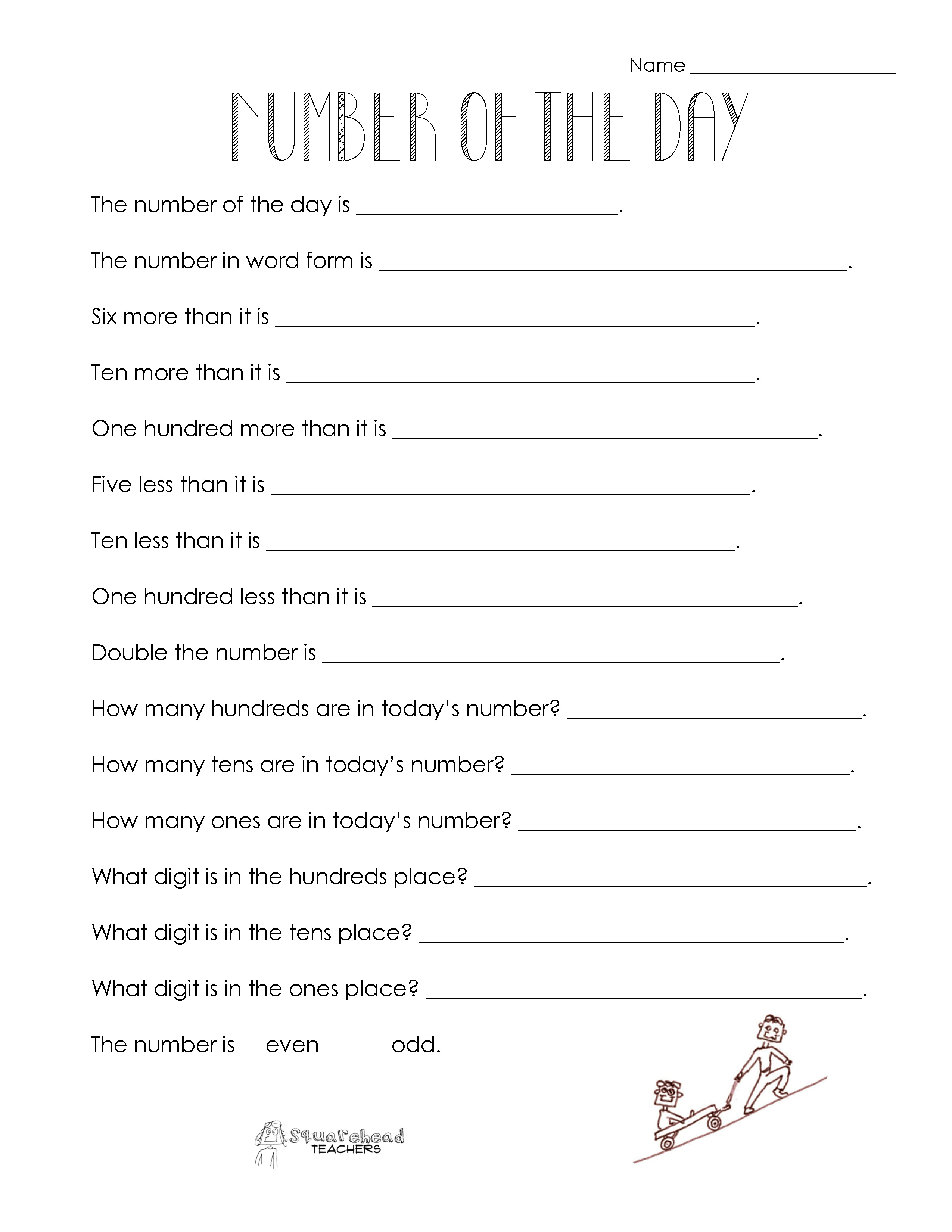 Free Printable Number Of The Day Worksheets