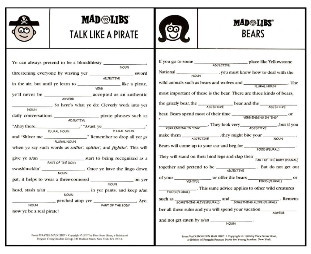 Printable Mad Libs Sheets For Adults