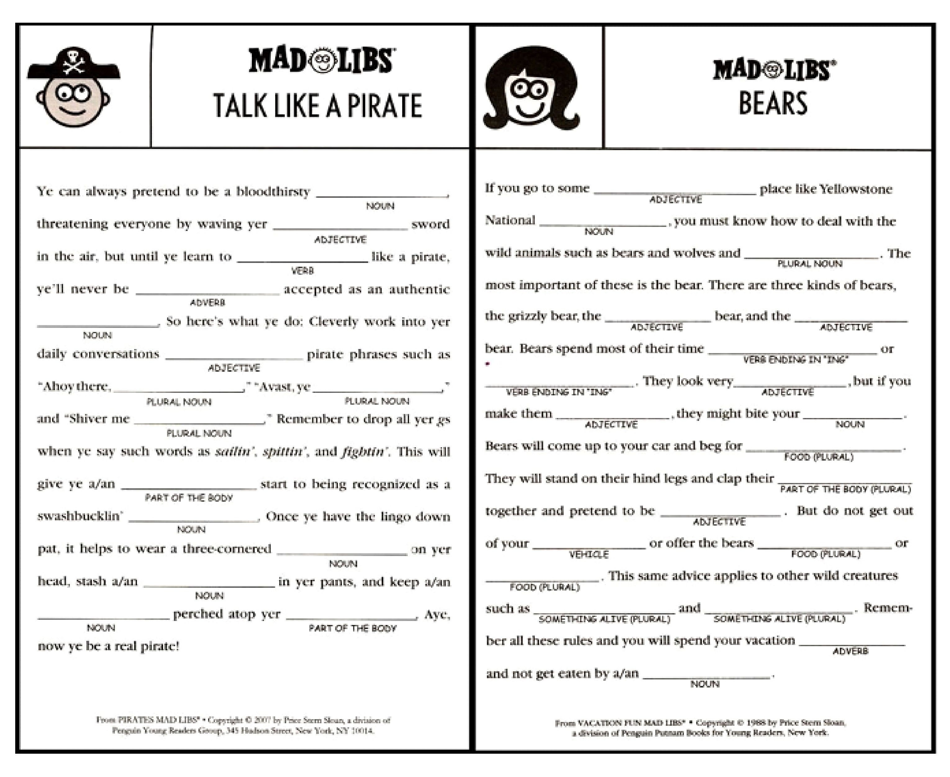 Free Printable Mad Libs