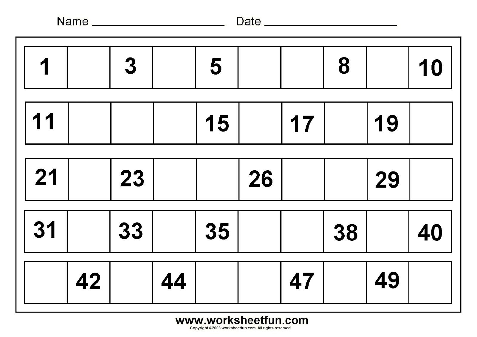 1 50 Number Charts To Print Activity Shelter