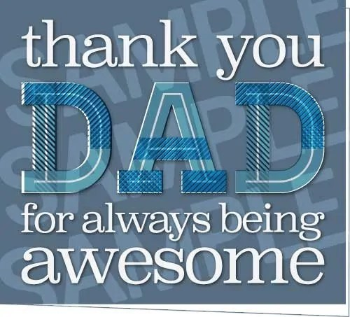 Thank You Dad Printable Fathers Day Card For Dad