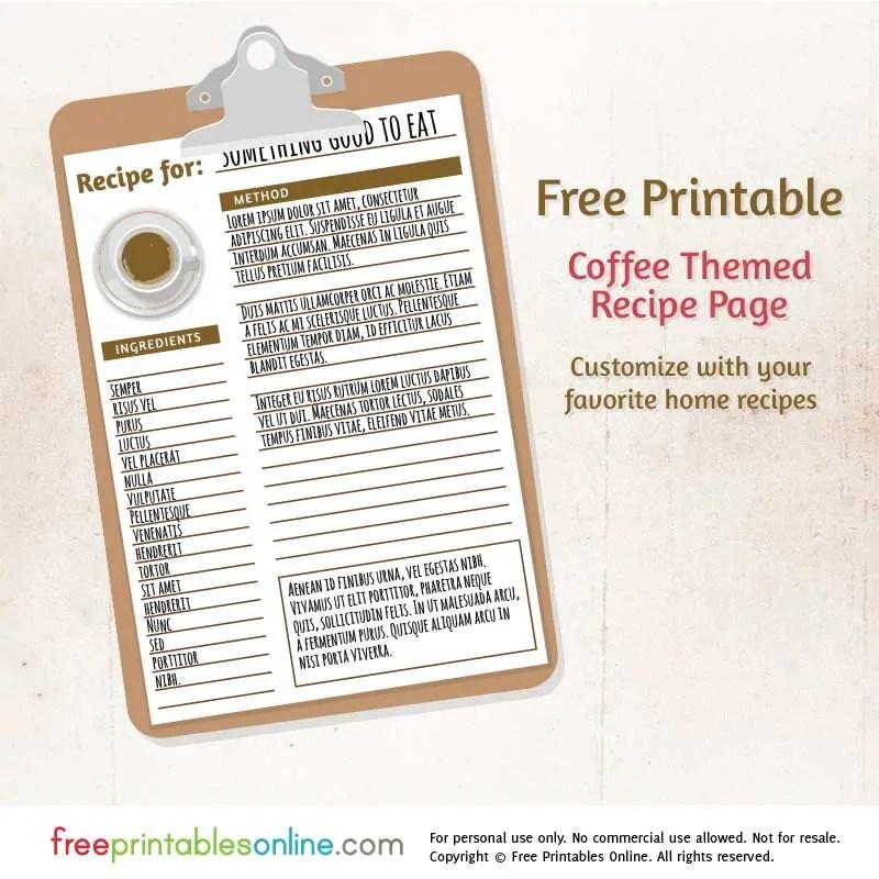 Coffee Themed Free Printable Blank Recipe Page Free