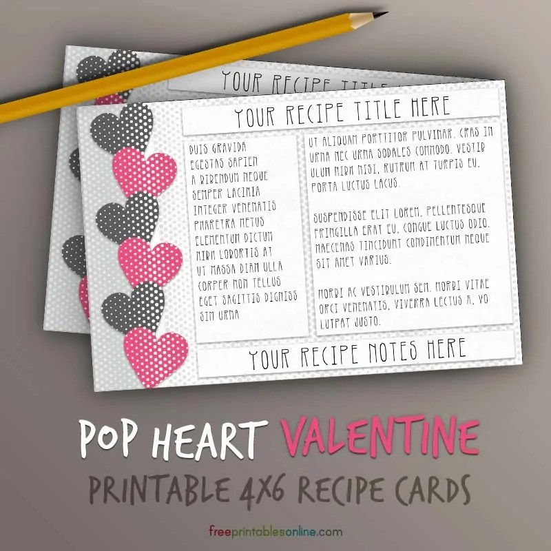 Pop Hearts Recipe Card Template 4x6 Free Printables Online