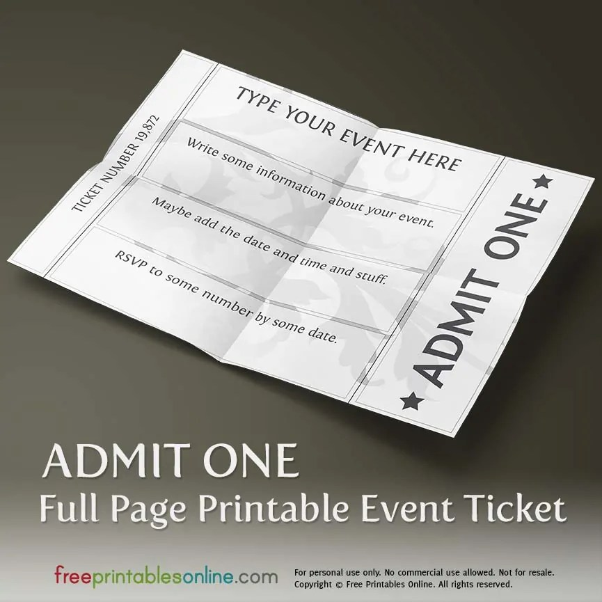 free printable event ticket template to customize publisher – Event Ticket Ideas