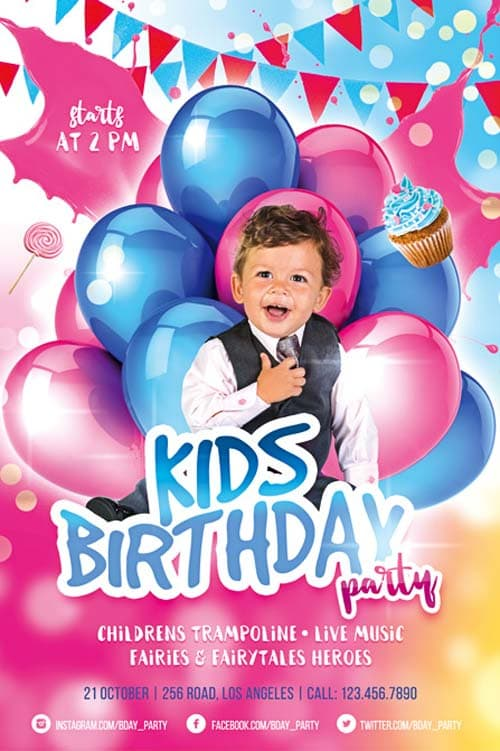Kids Birthday Party Free Flyer Template Download For Photoshop