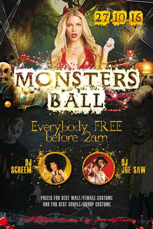 Monsters Ball Party Free PSD Flyer Template Download For
