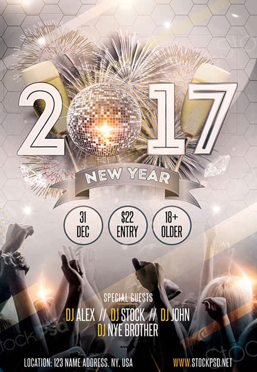 FreePSDFlyer   New Year Gold Party Free Flyer Template   Download     New Year Gold Party Free Flyer Template