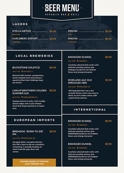 Free Beer Menu Flyer Template Download For Photoshop