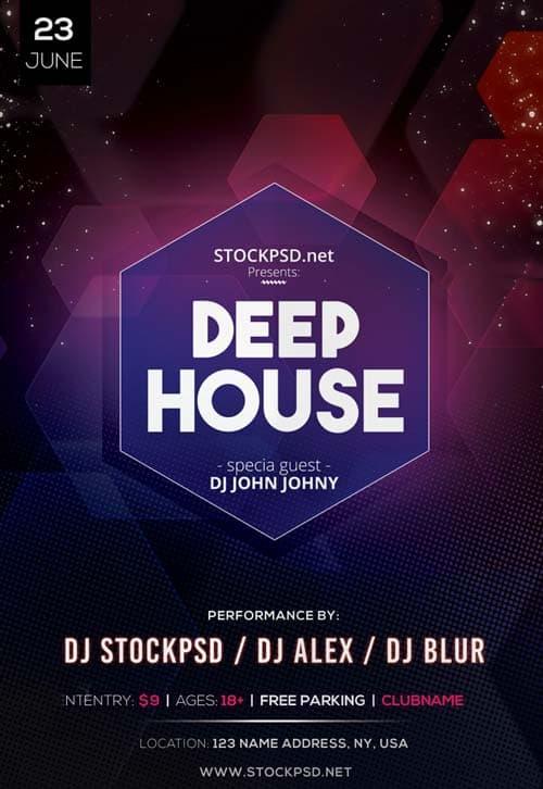 Deep House DJ Event Free PSD Flyer Template Download