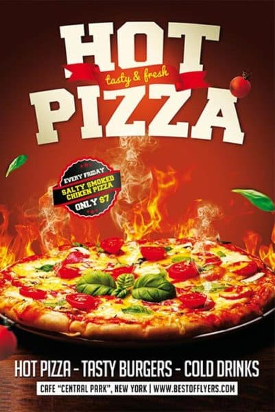 Download The Hot Pizza Restaurant Free Flyer Template For Photoshop