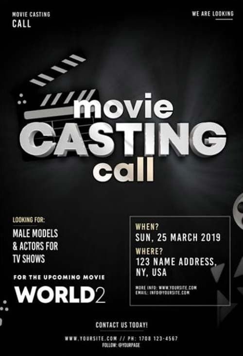 Casting Call Free Psd Flyer Template For Movie Party And