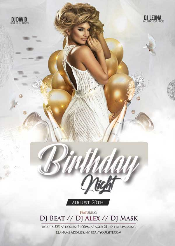 Free Elegant Birthday Party Flyer Template Download Freepsdflyer