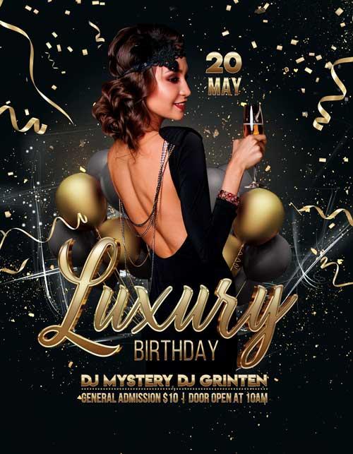 Free Luxury Birthday Party Flyer Template Freebie Freepsdflyer