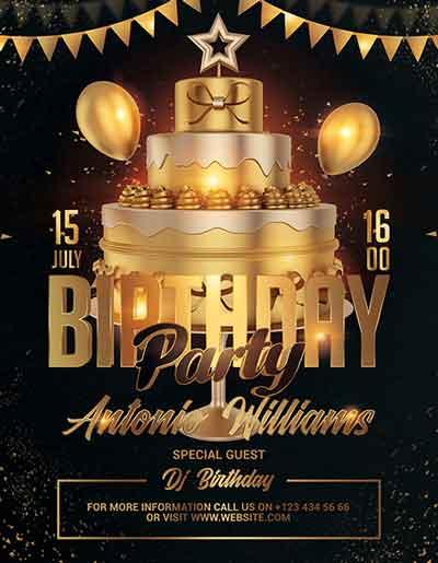 Free Birthday Night Party Psd Flyer Template Freebie Freepsdflyer