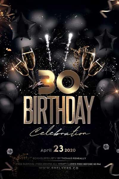 Free 30th Birthday Party Flyer Template Freebie Freepsdflyer