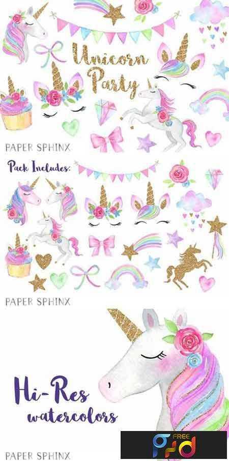 1802299 Watercolor Unicorn Party Clipart 2204998 Freepsdvn