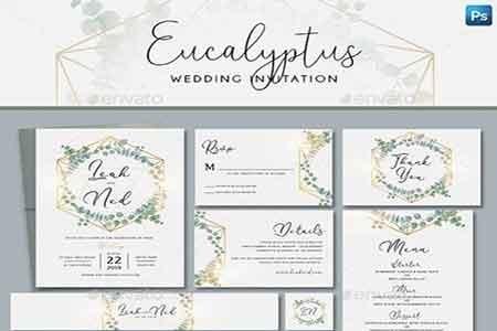 Geometric Eucalyptus Wedding Invitation 22851504 Freepsdvn