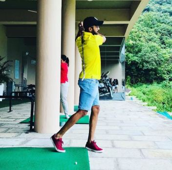 Ruturaj Gaikwad playing golf at a golf club