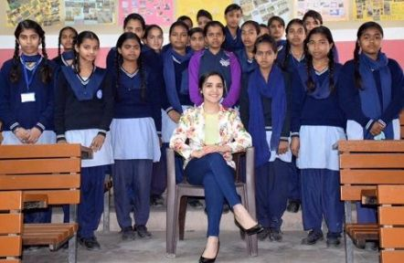 Lavleen Kaur With School Children