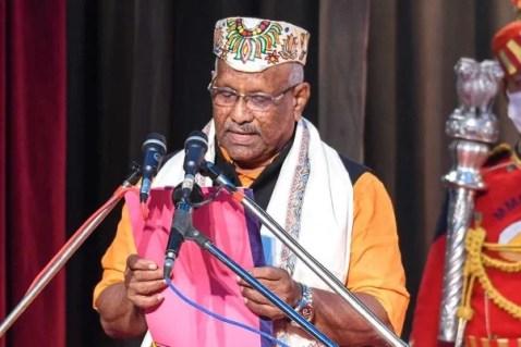 BJP leader Tarkishore Prasad swearing in as a deputy CM of Bihar at Raj Bhavan, Patna