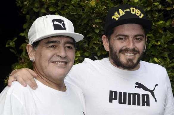 Diego Sinagra with his father Diego Maradona