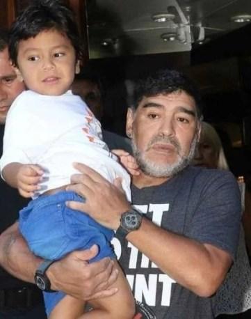 Giannina Maradona's half brother Diego Fernando with Diego Maradona